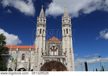 Jeronimos Monastery Or Hieronymites Monastery In Belem District Of Lisbon, Portugal.