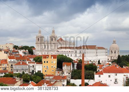 Lisbon City View With Monastery Of Sao Vicente De Fora - Alfama Neighborhood. Rainy Weather.
