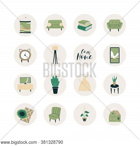 A Set Of Drawing Room Items. Highlights. A Good Template For A Website, Postcards, Posters, Stickers