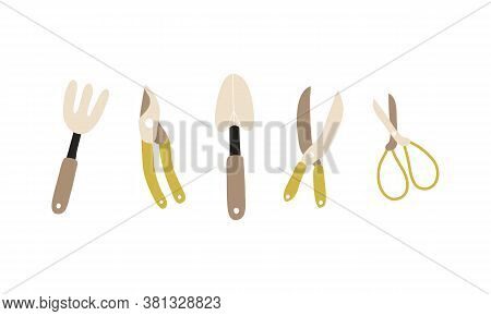 Vector Set Of Garden Tools. Shears, Pruners, Spade, Pitchfork, Garden Shears. Garden Tools Isolated