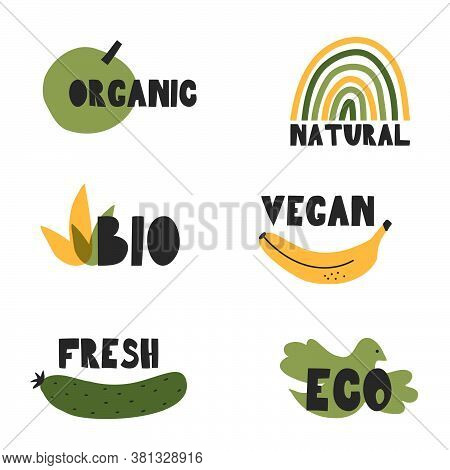 Collection Of Emblems -vegan, Organic, Natural, Bio, Fresh, Eco.stickers For Food , Icons For Menus,