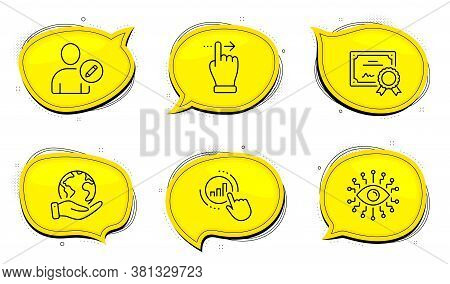 Artificial Intelligence Sign. Diploma Certificate, Save Planet Chat Bubbles. Graph Chart, Touchscree