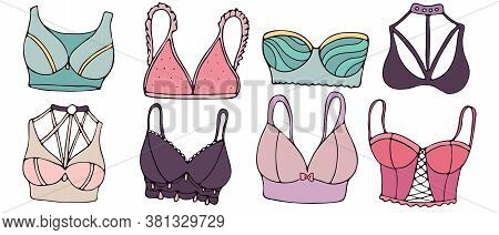 Sexy Underwear For Woman - Bra, Colors Vector Set Of Elements In Doodle Style With Black Outline