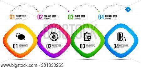 Payment Card, Refill Water And Checklist Icons Simple Set. Timeline Infographic. Messenger Sign. Cre