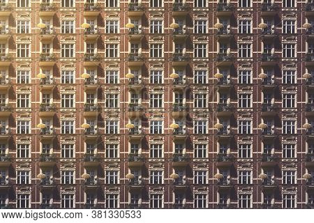 Architectural Pattern, Old Berlin House With Balconies And Parasols