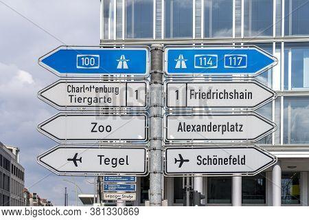 Direction Signs On Leipziger Straße In Berlin