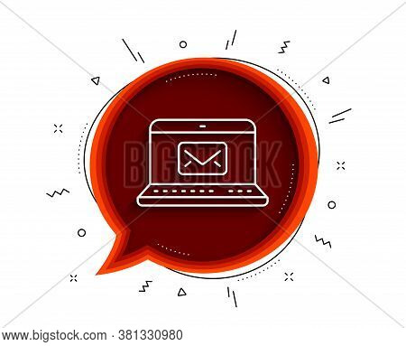 E-mail Line Icon. Chat Bubble With Shadow. Message Correspondence Sign. Communication Symbol. Thin L