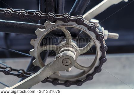Close Up Of A Chain, Sprocket And Pedals Of An Old Bicycle