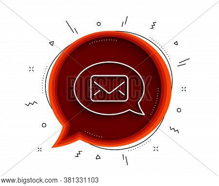 Mail Line Icon. Chat Bubble With Shadow. Messenger Communication Sign. E-mail Symbol. Thin Line Mess
