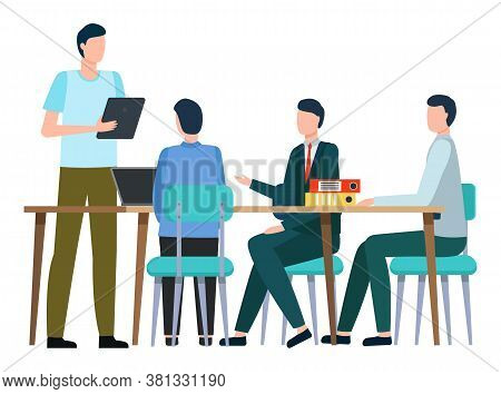 Man Holding Clipboard Reporting On Business Project. Isolated Team Of Employees On Office Meeting. B