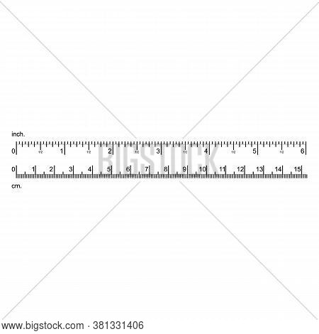 Inch And Centimeter Ruler Black Thin Line Precision Tool. Vector Illustration Of Measuring Scale Met