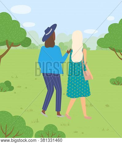 Woman Characters In Casual Clothes Walking In Park On Harvest Festival In Europe. Leisure Of Females