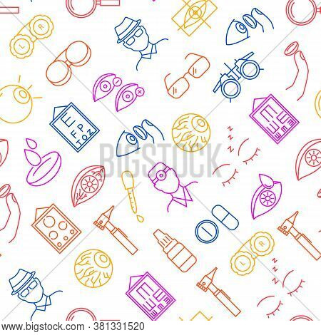 Optometry Concept Thin Line Seamless Pattern Background On A White Include Of Eye, Vision Test, Ocul