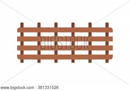 Fence At Farm Vector, Isolated Construction Made Of Wood, Constructed Barrier With Help Of Nails, Ho