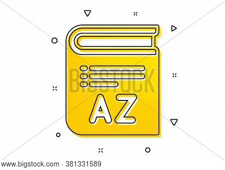 Book Glossary Sign. Vocabulary Icon. Yellow Circles Pattern. Classic Vocabulary Icon. Geometric Elem