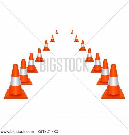 Realistic 3d Detailed Orange Plastic Traffic Cones Way Symbol Of Safety On Road. Vector Illustration
