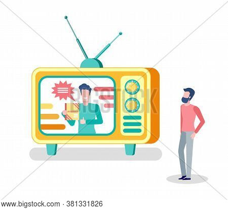 Mass Media Broadcasting, Tv Set And Person Watching Show Vector. Potential Customer, Male Host Promo