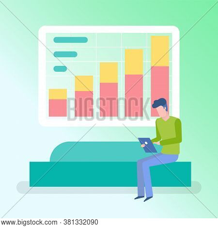 Working Man Using Tablet Vector, Digital Information Decision Person Sitting On Couch Using Laptop A