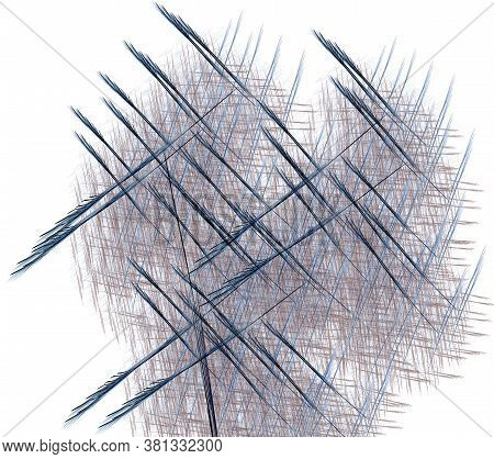 Strokes And Arrows Intersect On A White Background. Abstract Fractal Background. 3d Rendering. 3d Il