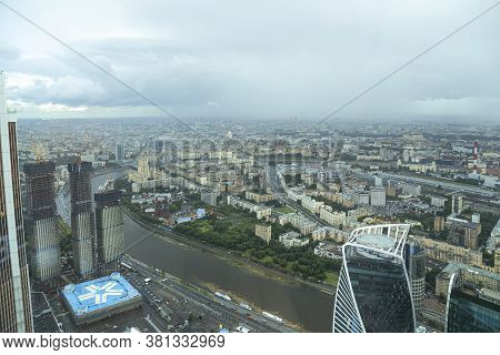 Moscow, Russia - July 23, 2020: Aerial View Of Center Of Moscow From Observation Deck  Federation To