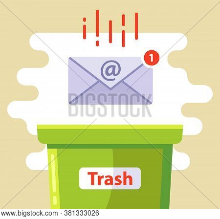 Delete The Email In The Spam Trash Can. Flat Vector Illustration.