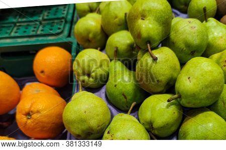 Pear Fruits On Display In Supermarket Gondola In Brazil