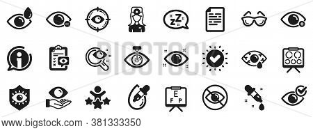Medical Laser Surgery, Glasses And Eyedropper. Optometry, Eye Doctor Icons. Pink Eye, Cataract Surge