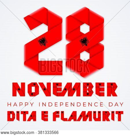 Congratulatory Design For November 28, Albania Independence Day. Text Made Of Bended Ribbons With Al