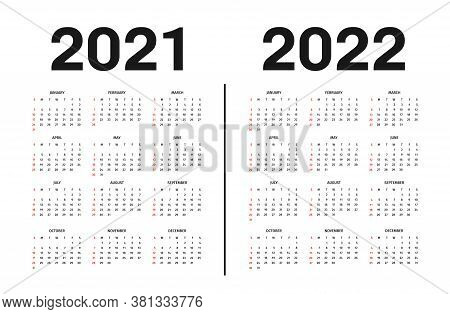 Calendar 2021 And 2022 Template. Calendar Template In Black And White Colors, Holidays In Red Colors
