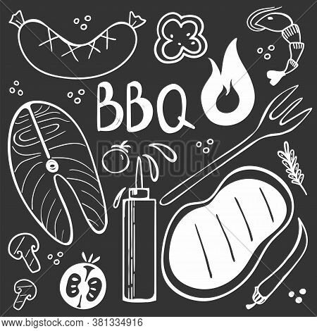 Chalk Drawing Bbq Doodle Set. Hand Drawn Modern Barbeque Cooking Food Collection, Meat, Vegetables A