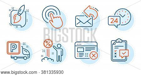 Share Mail, Reject Web And Discount Signs. 24h Service, Click And Checklist Line Icons Set. Painting