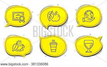 Wine Glass Sign. Diploma Certificate, Save Planet Chat Bubbles. Takeaway, Apple And Mint Tea Line Ic