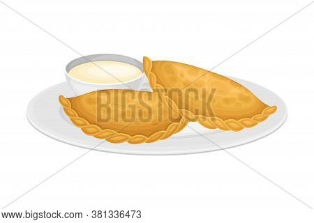 Empanada Or Pastry With Stuffing As Spanish Cuisine Dish Served On Plate Vector Illustration