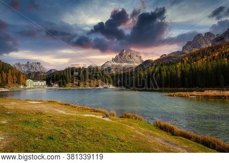 The Tre Cime di Lavaredo mountains at Lago di Misurina lake, Dolomites. South Tyrol, Italy