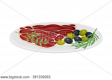 Meat Slices Garnished With Olives And Herbs As Spanish Cuisine Dish Served On Plate Vector Illustrat