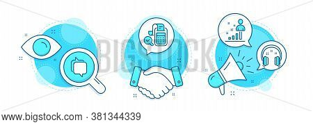 Headphones, Bill Accounting And Messenger Line Icons Set. Handshake Deal, Research And Promotion Com