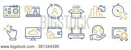 Set Of Technology Icons, Such As Motherboard, Wifi. Certificate, Save Planet. Cloud Storage, User In