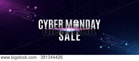 Cyber Monday Sale Banner. High Tech Background From A Circuit Motherboard. Computer Mouse And Text.