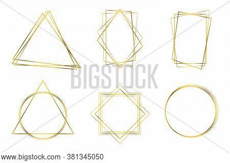 Golden Geometric Frames. Detailed Golden Polygonal Frames Thin Line Set For Invitation Decoration. A