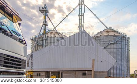Metallic Warehouse. Grain Storage Silo. Soy Deposit. Infrastructure For Storage And Storage Of Agric