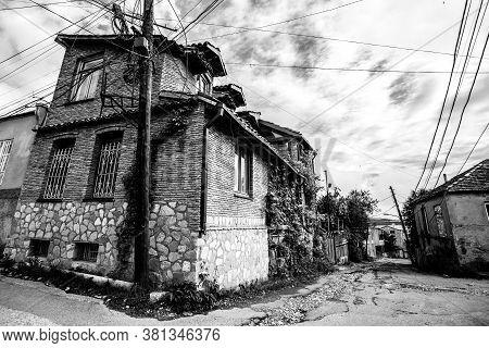 Telavi, Georgia - June 11, 2016: Black And White View Of Street In Telavi Town In Georgia, Kakheti