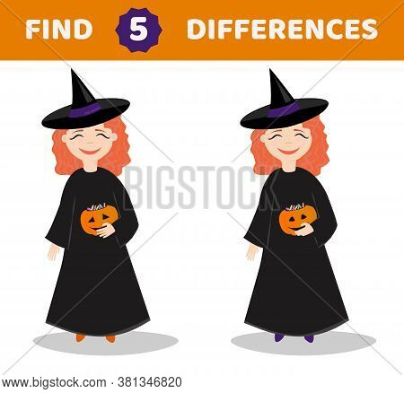 Find Differences. Educational Game For Children. Cartoon Vector Illustration: Girl In A Halloween Co
