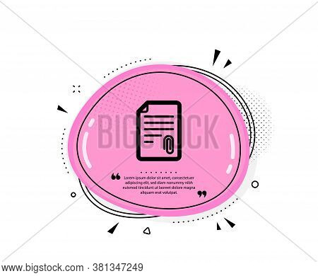 Cv Attachment Icon. Quote Speech Bubble. Document File Symbol. Quotation Marks. Classic Attachment I