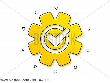 Engineering Tool Sign. Cogwheel With Check Icon. Cog Gear Symbol. Yellow Circles Pattern. Classic Co