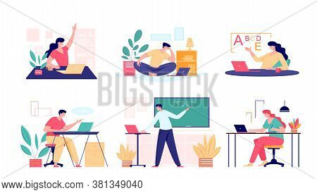 Online Class Meet Vector Concept. Male And Female School Teacher, College Tutor Coach Or Student Tal