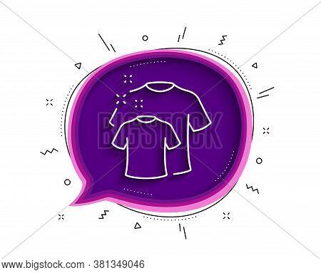 Clean T-shirt Line Icon. Chat Bubble With Shadow. Laundry Shirt Sign. Clothing Cleaner Symbol. Thin