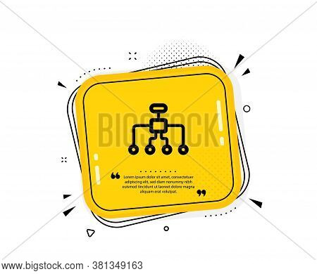 Restructuring Icon. Quote Speech Bubble. Business Architecture Sign. Delegate Symbol. Quotation Mark
