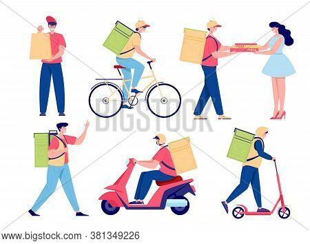Cartoon Food Delivery Set. Young Men Deliver Food On Foot, By Bicycle And By Motorbike. Pizza Delive