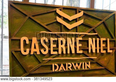 Bordeaux , Aquitaine / France - 08 10 2020 : Caserne Niel Darwin Logo Sign Front Of Ancient Barrack