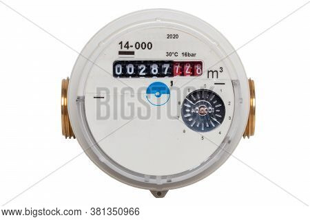 Water Meter Isolated. Closeup Of A Garden Water Meter To Determine The Amount Of Water Used For Wate